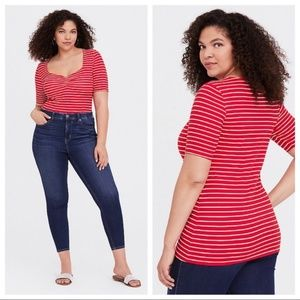 Torrid red striped blouse ✨plus size 3X